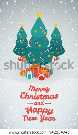 Merry Christmas and Happy New Year illustrations. Isometric 3d vector