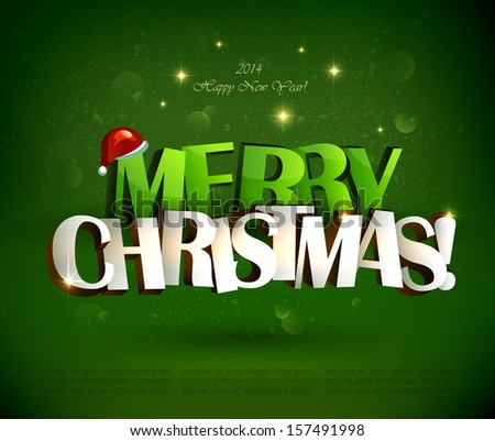 Merry Christmas and Happy New Year inscription. - stock vector