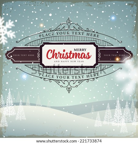 Merry Christmas and Happy New Year 2015 Label. Abstract Winter Background for Holiday Cards and Posters Design. - stock vector