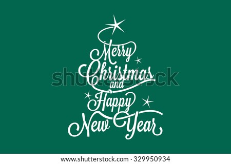 Merry Christmas and Happy New Year large postcard with calligraphic text - stock vector