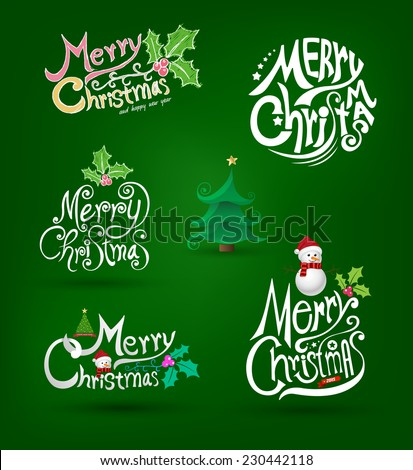 Merry christmas and happy new year lettering set. Vector illustration. - stock vector