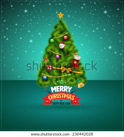 Merry christmas and happy new year lettering. Vector illustration. - stock vector