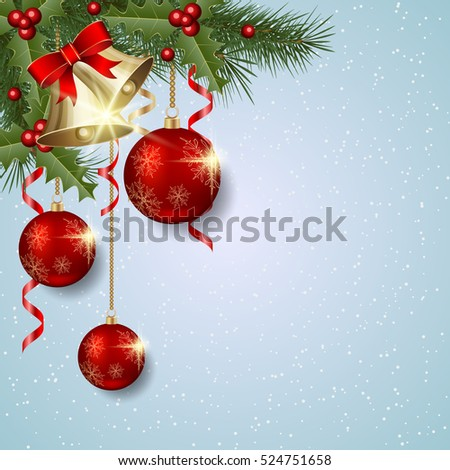 Merry Christmas and Happy New Year light blue vector background with fir branches, luxury balls and bells