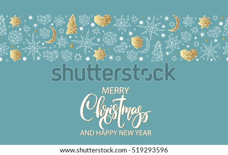 Merry christmas happy new year luxury stock vector 519293596 merry christmas and happy new year luxury gold seamless pattern on blue background with stars stopboris Gallery