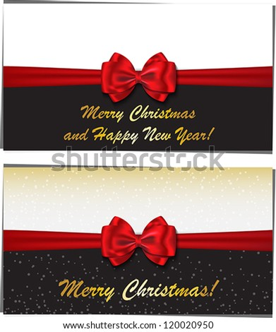Merry Christmas and Happy New Year luxury greeting cards. Vector illustration - stock vector