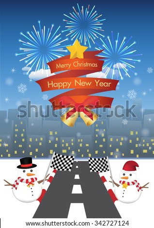 merry christmas and happy new year on a red ribbin and Snowman with road to night city background  - stock vector