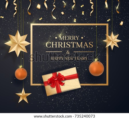 Merry Christmas and Happy New Year on black Background With Classic Typography and Elements. Vector Illustration.