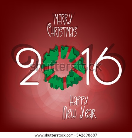 Merry Christmas and Happy New Year 2016 - paper cut out style vector illustration. Red background. EPS 10.