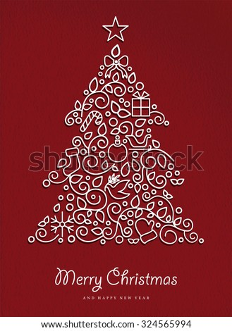 Merry christmas and happy new year pine tree made in modern outline style with simple xmas ornaments. Ideal for holiday card, poster, or party invitation. EPS10 vector. - stock vector