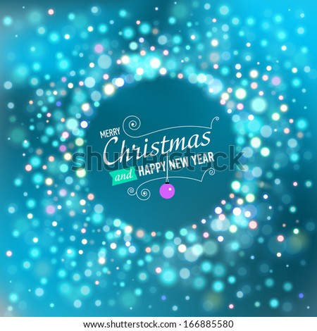 Merry Christmas and Happy New Year post card with lights. Vector illustration - stock vector
