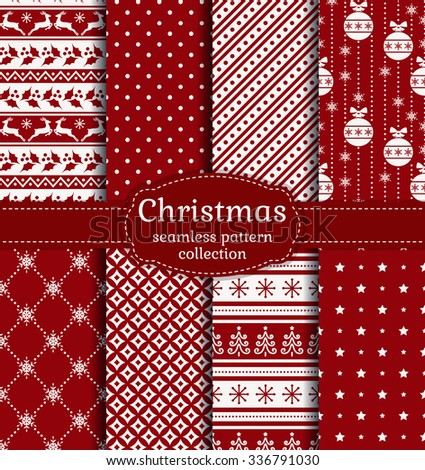 Merry Christmas and Happy New Year! Red and white seamless backgrounds with traditional holiday symbols: christmas tree, tree ball, deer, holly, snowflakes and suitable abstract patterns. Vector set. - stock vector
