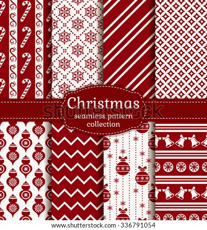 Merry Christmas and Happy New Year! Red and white seamless backgrounds with traditional winter holiday symbols: candy cane, christmas ball, snowflakes, bell and suitable abstract patterns. Vector set. - stock vector