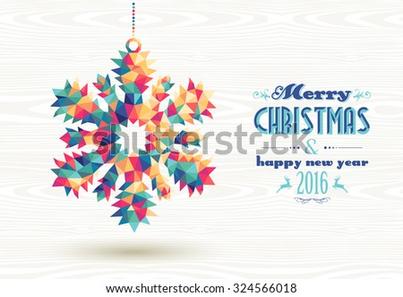 Merry Christmas and happy new year 2016 retro snowflake made with colorful hipster triangles background. Ideal for holiday greeting card, poster or web template. EPS10 vector.