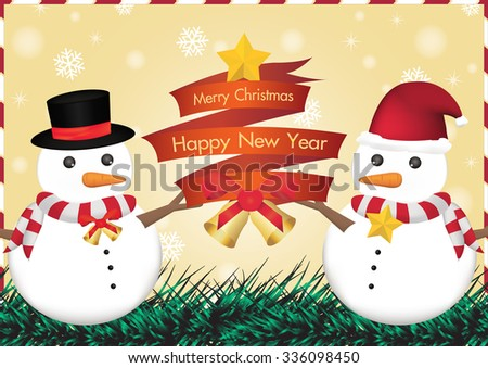 merry christmas and happy new year ribbin with snowman and snow light bokeh background