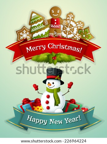Merry Christmas and happy new year ribbon banner set with ginger man and snowman with gift boxes isolated vector illustration - stock vector