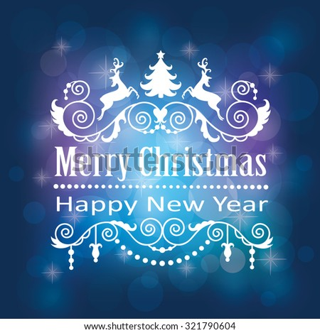 Merry Christmas and Happy New Year's card. - stock vector