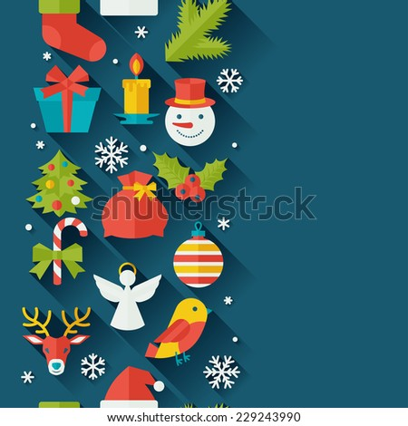 Merry Christmas and Happy New Year seamless pattern. - stock vector
