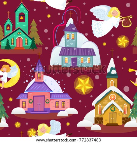 merry christmas and happy new year seamless pattern, church and green tree under snow, christianity and Catholic winter city cathedral vector illustration, religious holy background