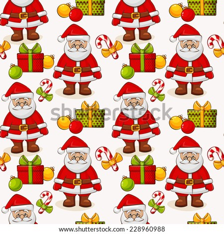 Merry Christmas and Happy New Year! Seamless pattern with Santa and gifts on white background. Vector illustration. - stock vector