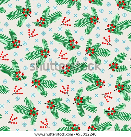 Merry Christmas and Happy New year seamless pattern with winter branches, snowflakes and berries. Simple geometric vector illustration for scrapbooking, fabrics, posters, greeting cards.  - stock vector