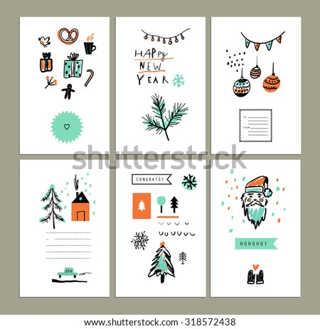 Merry Christmas and Happy New Year set. Cute Hand drawn holiday cards and invitations. Decorative elements. Vector illustration. Isolated. Elements are grouped separately - stock vector