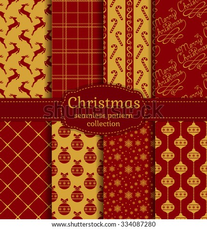 Merry Christmas and Happy New Year! Set of chic seamless backgrounds with holiday symbols: deer, tree balls, candy cane, snowflakes, handwritten text and suitable abstract patterns. Vector collection. - stock vector