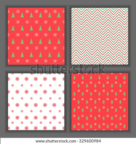 Merry Christmas and Happy New Year!  Set of Classic Christmas patterns with red and white colors. Vector illustration.  collection of winter holiday backgrounds. - stock vector