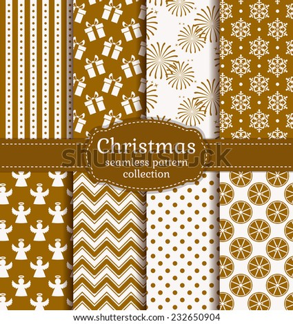 Merry Christmas and Happy New Year! Set of holiday backgrounds. Collection of seamless patterns with gold and white colors. Vector illustration. - stock vector