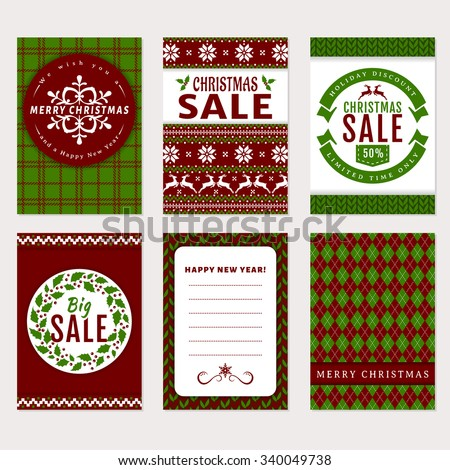 Merry Christmas and Happy New Year! Set of holidays banners and labels. Templates in traditional white, green and red colors. Christmas sale, discount and greeting cards. Vector collection.
