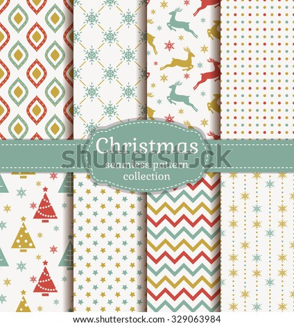 Merry Christmas and Happy New Year! Set of retro seamless backgrounds with traditional symbols: reindeer, fir-tree, snowflakes, stars and with suitable abstract geometric patterns. Vector collection. - stock vector