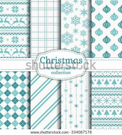 Merry Christmas and Happy New Year! Set of seamless backgrounds with winter holidays symbols: reindeer, christmas tree, christmas ball, snowflakes and suitable abstract patterns. Vector collection. - stock vector