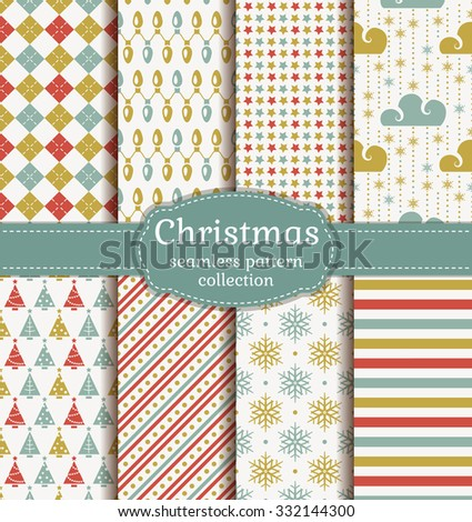 Merry Christmas and Happy New Year! Set of seamless retro backgrounds with traditional symbols: christmas tree, garland, snowflakes and suitable abstract geometric patterns. Vector collection. - stock vector