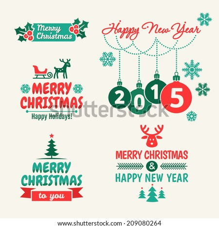 Merry Christmas and happy new year. Set of typographic elements,  frames and vintage labels.  - stock vector