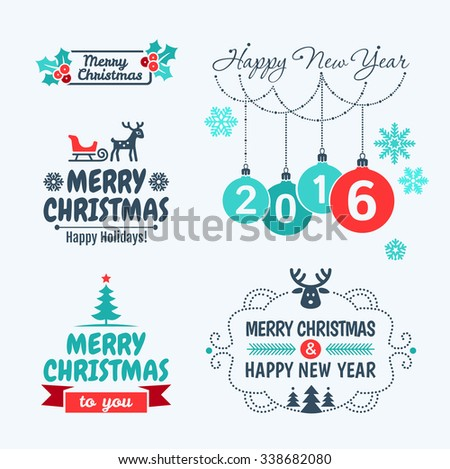 Merry Christmas and happy new year 2016. Set of typographic elements,  frames and vintage labels. - stock vector