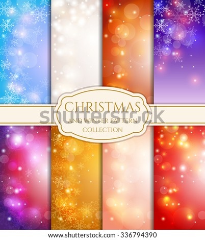 Merry Christmas and Happy New Year! Set of winter and holidays backgrounds with snowflakes, bokeh and space for text. Festive cards of different colors. Vector collection.  - stock vector