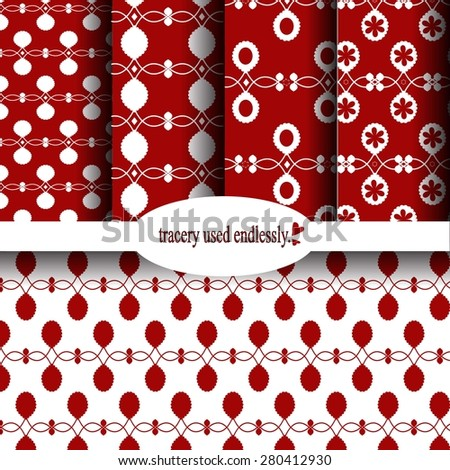 Merry Christmas and Happy New Year! Set of winter holiday backgrounds. Collection of seamless patterns with red and white colors. Vector illustration. - stock vector