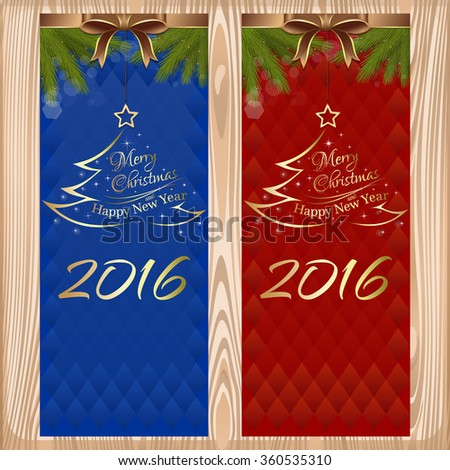 Merry Christmas and Happy New Year 2016. Set vector greeting cards with ribbons, bows and fir branches on a wooden background. - stock vector