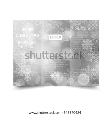 Merry Christmas and Happy New Year silver vector tri-fold brochure design template with abstract bokeh lights and snowflakes background EPS10 Tri-Fold Mock up & back Brochure Design
