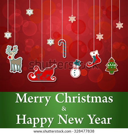 Merry Christmas and Happy New Year sticker set, vector - stock vector