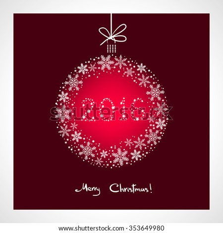 Merry Christmas and Happy New Year 2016. stylized red ball with snowflakes. Season greeting card template - stock vector