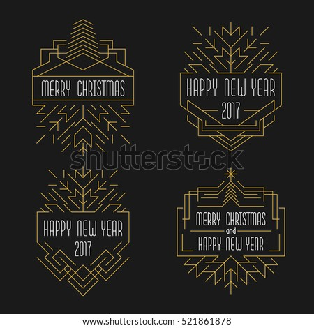 Merry Christmas and Happy New Year text. Art deco badges in outline style. 2017 Xmas card in golden colors.