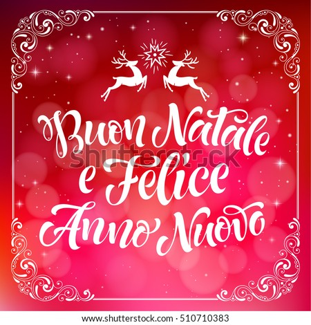 Merry Christmas and Happy New Year text in Italian: Buon Natale e Felice Anno Nuovo. Vector lettering for invitation, greeting card, prints. Hand drawn holidays design