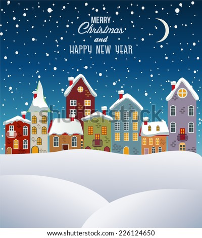 Merry Christmas and happy new year, town in winter.Vector - stock vector