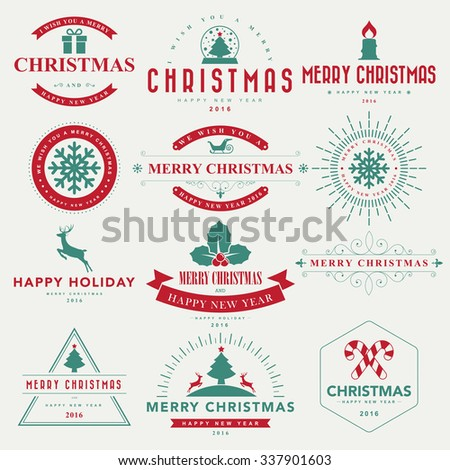 Merry Christmas and Happy New Year typographic background,Illustration eps10