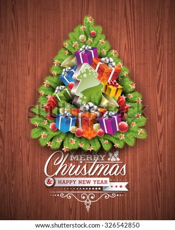 Merry Christmas and Happy New Year typographic design with holiday elements on wood texture background. EPS 10 Vector illustration.  - stock vector