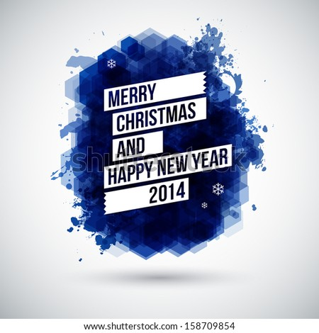 Merry Christmas and Happy New Year typographic headline. Use it for Your winter holidays design. Vector illustration.  - stock vector
