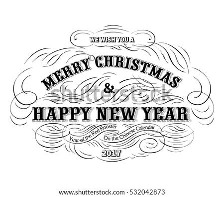 Merry Christmas And Happy New Year Typography Label In Black White Vector Stylish
