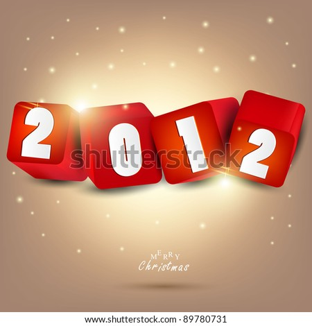 Merry  Christmas and Happy new year 2012. Vector background
