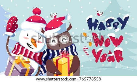Merry Christmas and Happy New Year vector background with cute snowman, owl and typographic design. Winter cartoon illustration