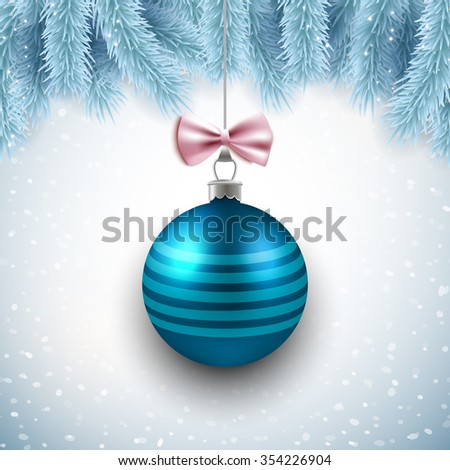 Merry Christmas and Happy New Year vector card design with blue decorative ball and fir branches